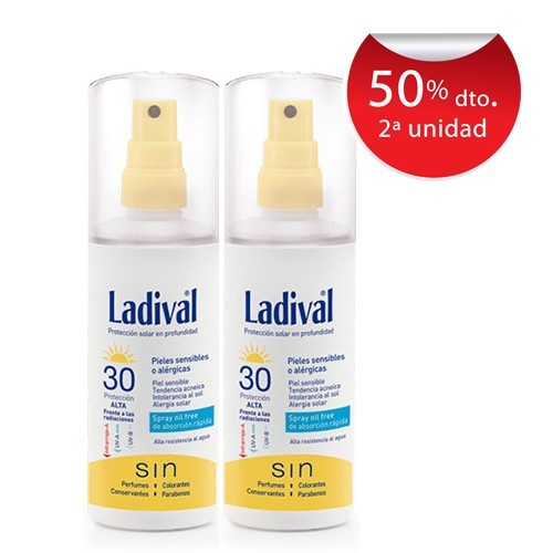 Ladival Duplo Pieles Sensibles o Alergicas Spray SPF30 Oil Free 150 ml + 150ml