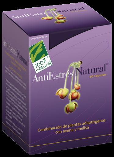 100% Natural AntiEstrés Natural Plantas adaptógenas con avena silvestre y melisa 60 Cápsulas